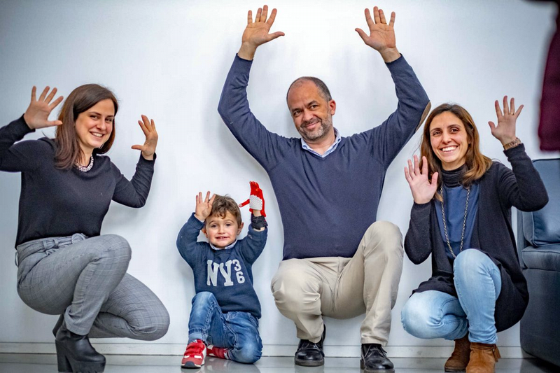 Salomé Azevedo and Rita Torrão from Patient Innovation with Eduardo and his father